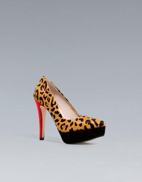 zara leopard platform court shoe in yellow two tone lyst