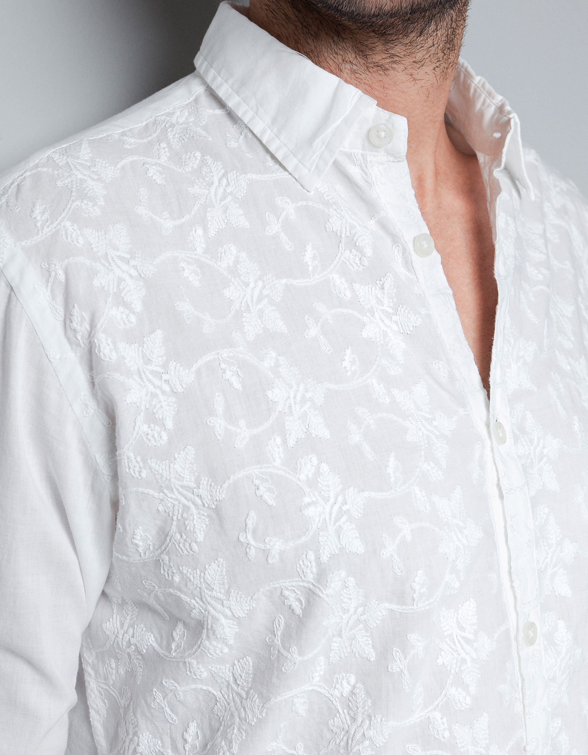 Zara embroidered shirt in white for men lyst for How to embroider a shirt