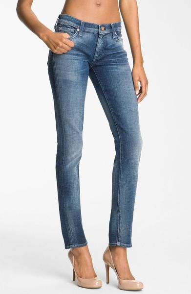 7 for all mankind roxanne skinny stretch jeans in blue. Black Bedroom Furniture Sets. Home Design Ideas