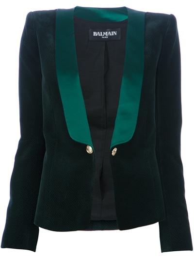 Balmain Velvet Smoking Jacket in Green - Lyst 65e2aa361c
