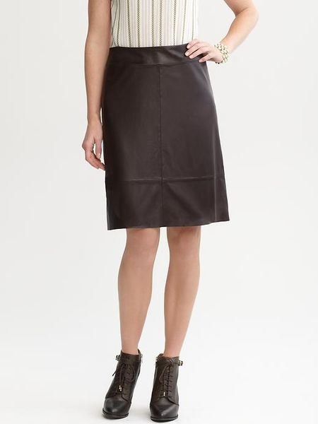 banana republic a line leather skirt in brown brown
