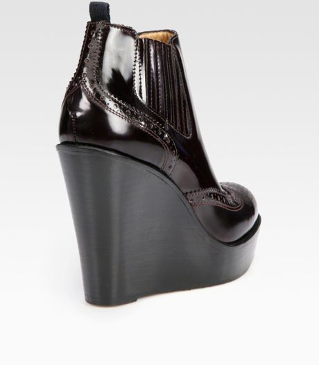 burberry delisle patent leather wedge ankle boots in brown