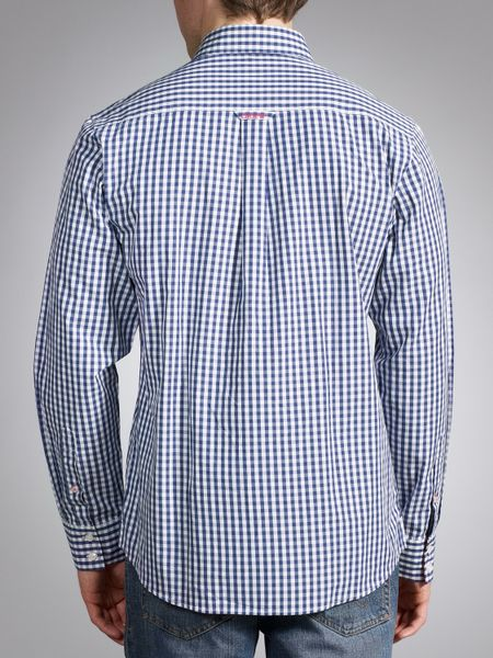 Crew clothing crew clothing classic gingham shirt navy in for Navy blue checkered dress shirt