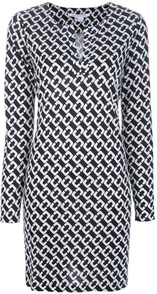Diane Von Furstenberg Reina Dress in White (black)