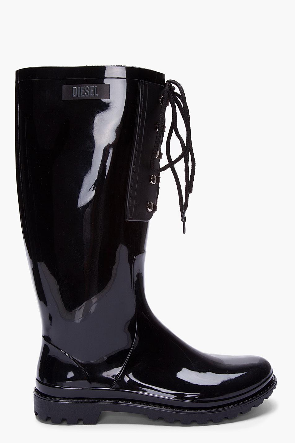 Diesel Black Patent Hook R Rainboots Lyst