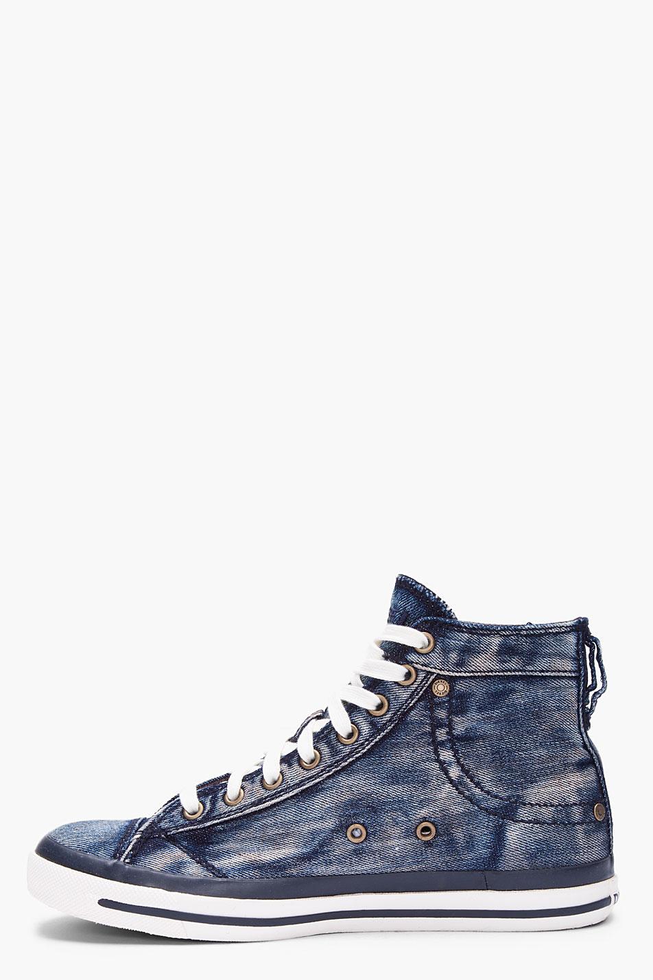 Diesel Washed Denim Exposure Sneakers In Blue For Men Lyst