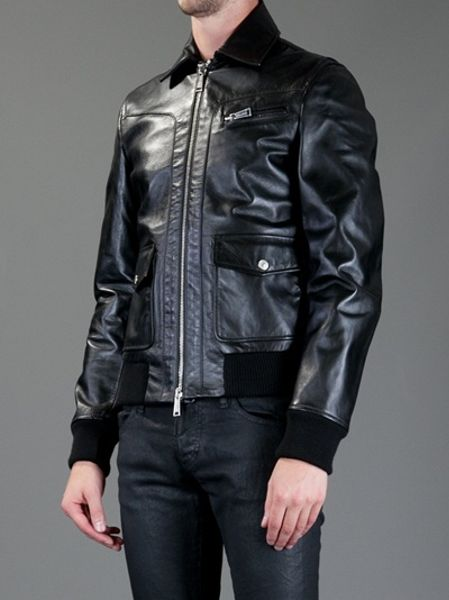 Dsquaredb Classic Leather Jacket in Black for Men | Lyst