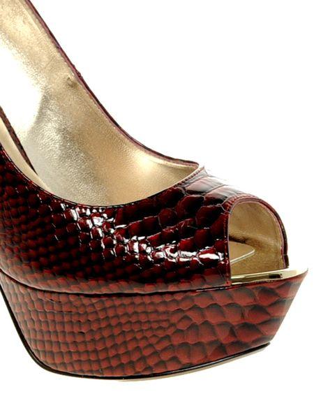 dune downham burgundy metal heel platform court shoes in