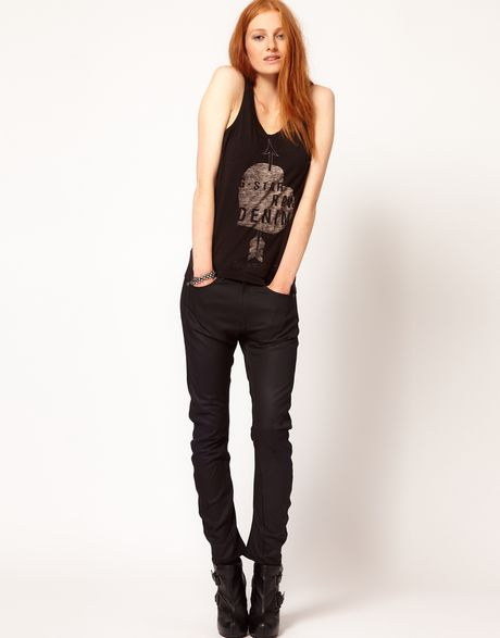 star raw gstar arc 3d tapered coated skinny jeans in black lyst. Black Bedroom Furniture Sets. Home Design Ideas