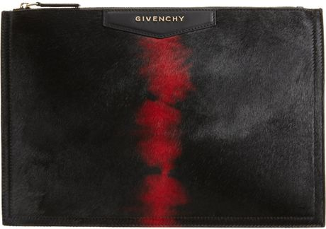 Givenchy Cosmetic Tye Dye Ponyhair Medium Bag in Black (gold)