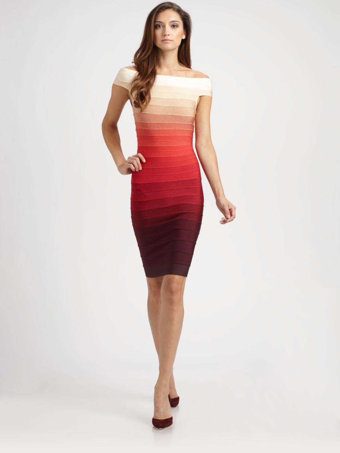 Herv U00e9 L U00e9ger Offtheshoulder Ombr U00e9 Bandage Dress In Mahogany