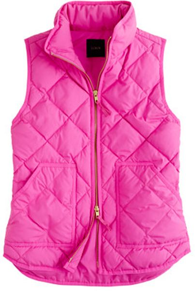 J Crew Excursion Quilted Vest In Pink Electric Pink