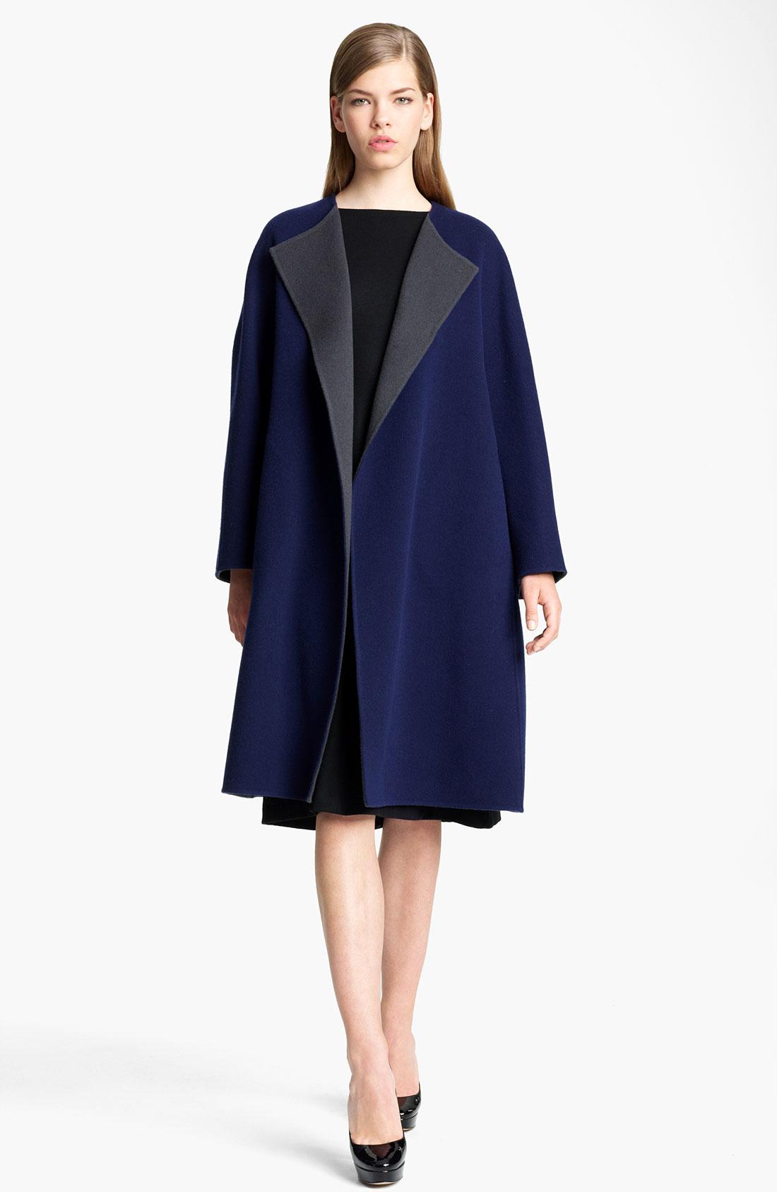 Jil sander Two Tone Soft Wool Cocoon Coat in Blue