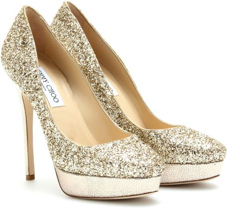 Jimmy Choo Cosmic Glitter Platform Pumps in Gold