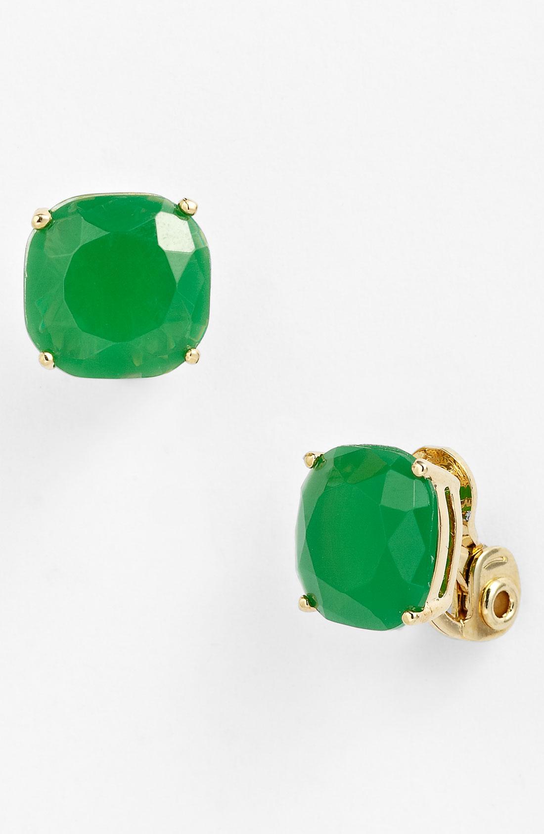 kate spade stud clip earrings in green green