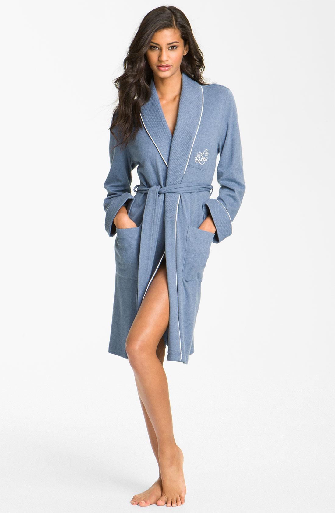 lauren by ralph lauren sleepwear quilted collar robe in blue impression blue heather lyst. Black Bedroom Furniture Sets. Home Design Ideas