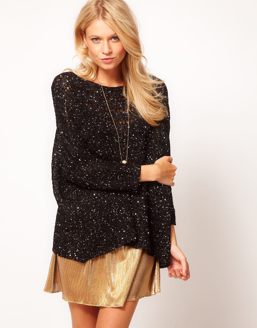 Love Glitter Sequin Jumper in Black