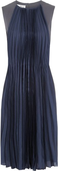Maison Martin Margiela Crepe and Pleated Silk Dress in Blue