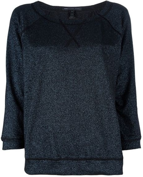 Marc By Marc Jacobs Blue Sparkle Terry Sweatshirt in Black (blue)