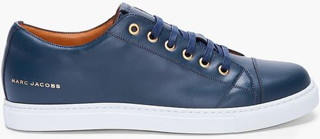Marc Jacobs Navy Leather Sneakers in Blue for Men (navy)
