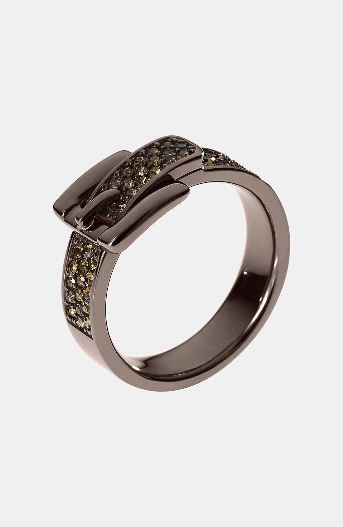 michael michael kors buckle ring in silver espresso multi. Black Bedroom Furniture Sets. Home Design Ideas