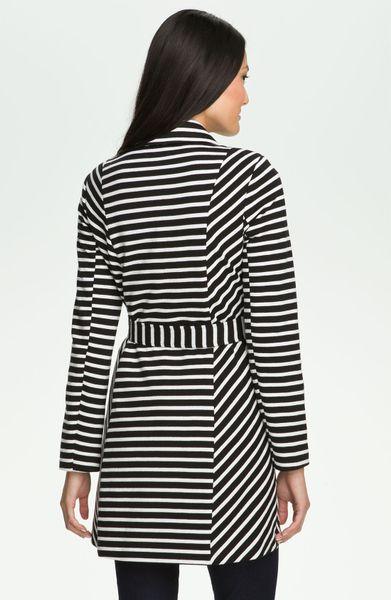 Olivia Moon Stripe Trench Coat In Black Black White