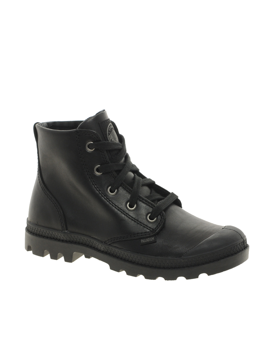 palladium pa black leather hi lace up ankle boots in