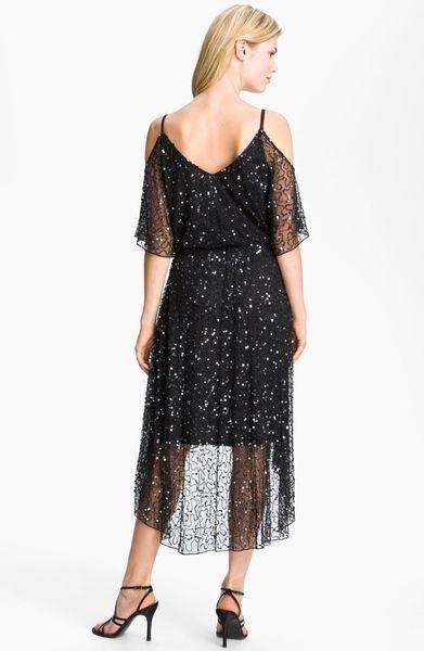 Pisarro Nights Sequin Open Shoulder Silk Dress In Black Lyst