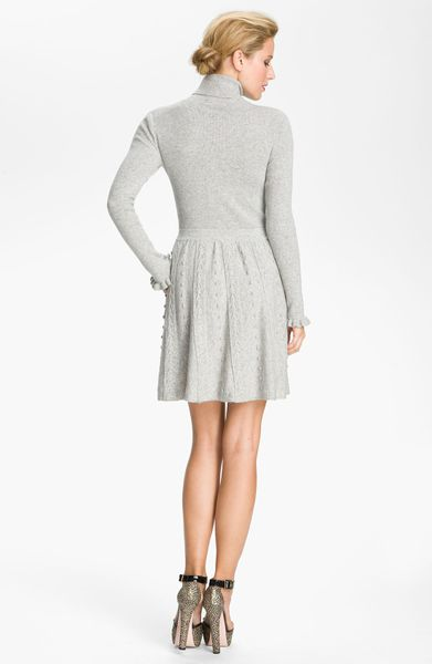 Red Valentino Cable Knit Turtleneck Dress in Gray (light ... - photo #36