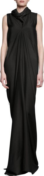 Rick Owens Cowl Neck Gown in Black
