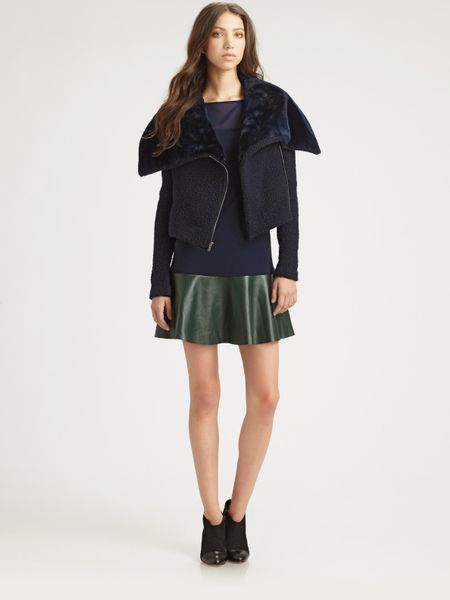 Sachin & Babi Caitlin Faux Shearling Jacket in Blue (midnight)