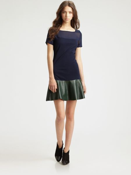 Sachin & Babi Robbie Chiffon Leather Dress in Blue (midnight)