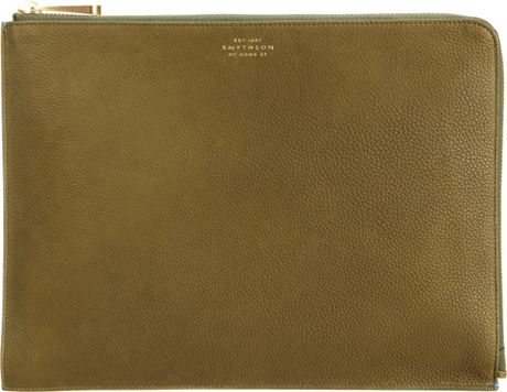 Smythson Large Eliot Travel Pouch in Khaki (gold)