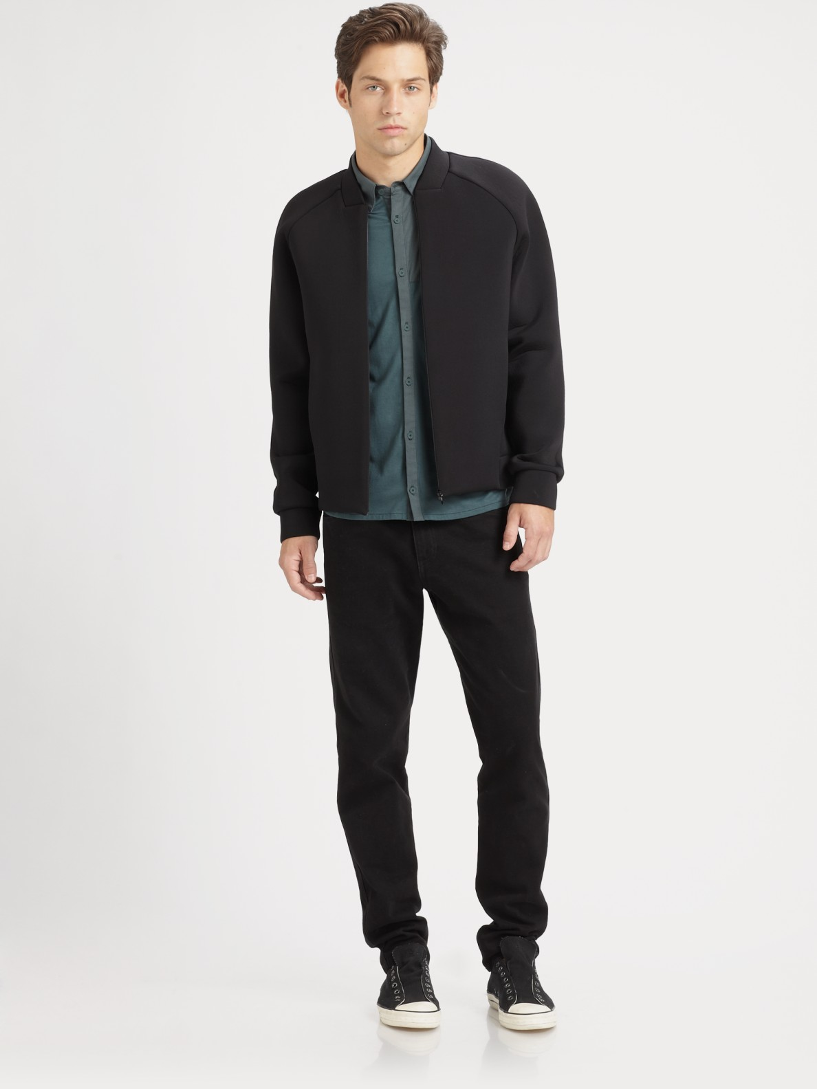 T by alexander wang Neoprene Bomber Jacket in Black for Men | Lyst