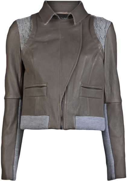 Thakoon Leathercable Bomber in Gray (grey)