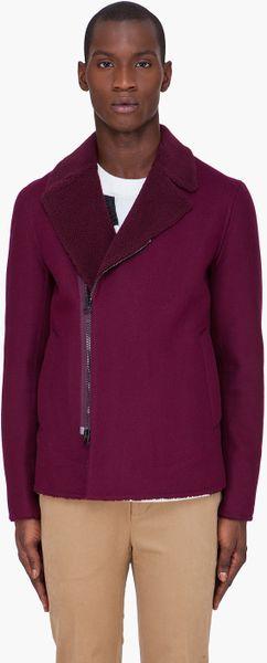 3.1 Phillip Lim Burgundy Reversible Sherpa Jacket in Red for Men (burgundy)