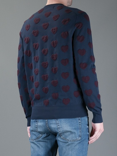 Acne Studios Heart Printed Sweater in Blue for Men