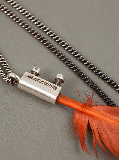 Ann Demeulemeester Degrade Feather Necklace in Silver (Metallic) for Men