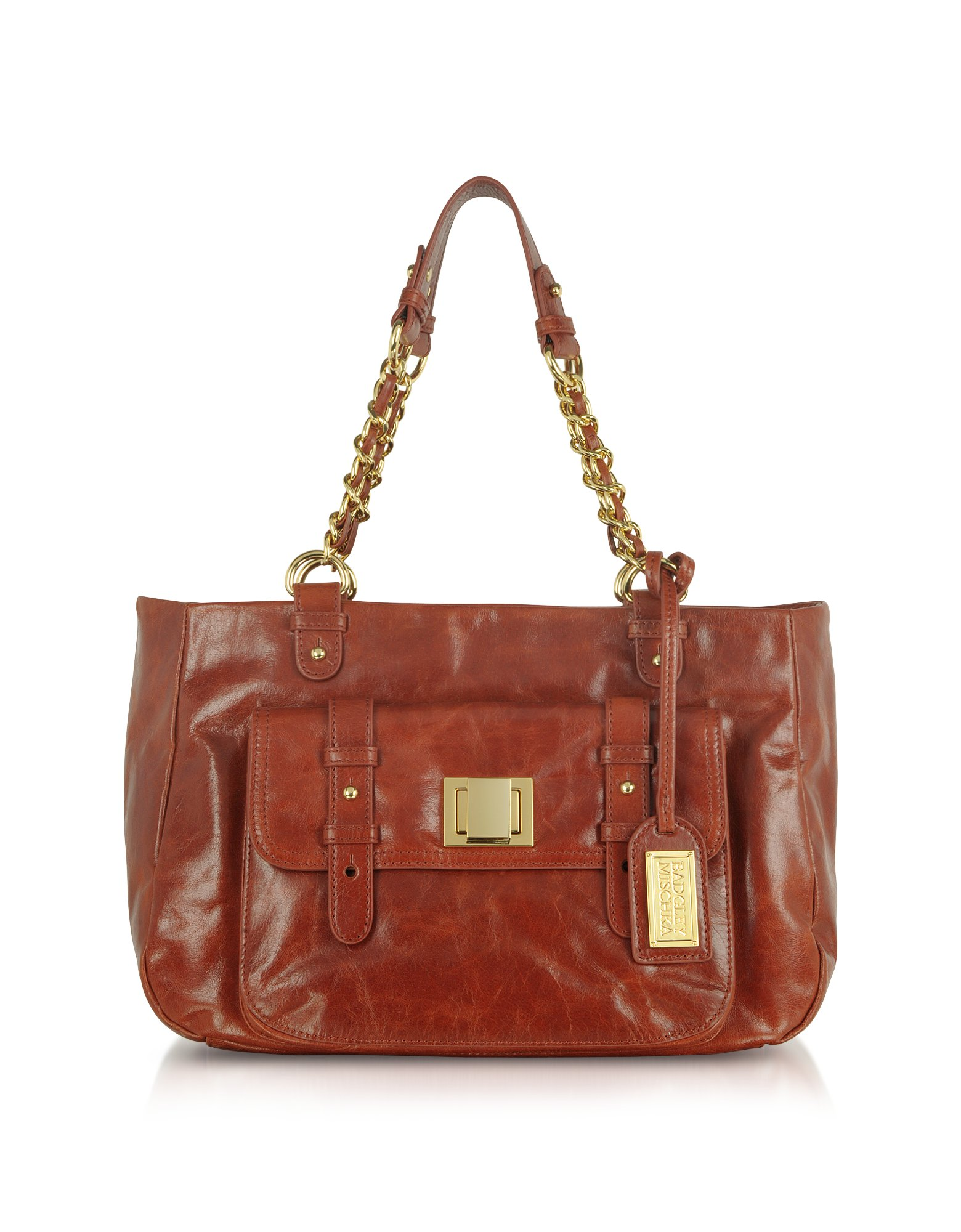 Lyst Badgley Mischka Carley Shine Cognac Leather Handbag
