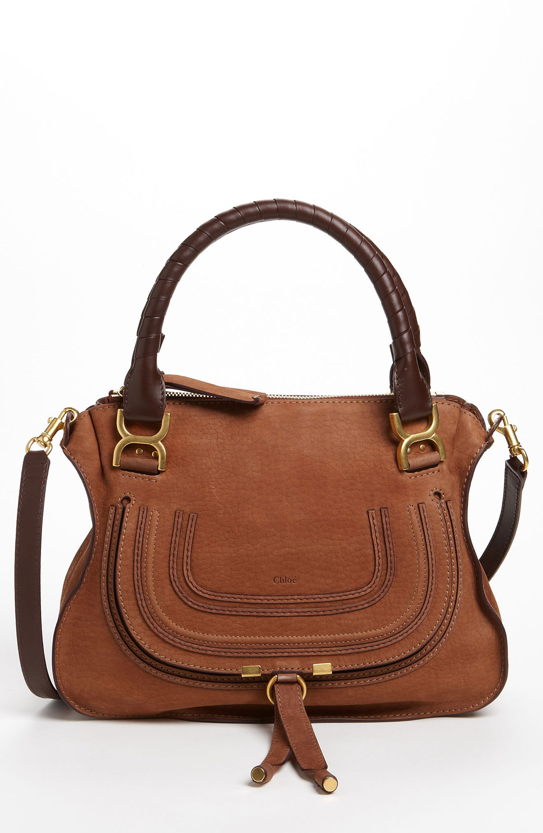 chlo marcie small nubuck leather shoulder bag in brown oak lyst. Black Bedroom Furniture Sets. Home Design Ideas