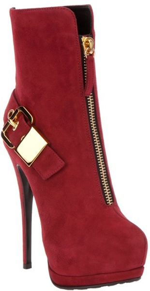 Giuseppe Zanotti Buckled Ankle Boot in Red (burgundy)