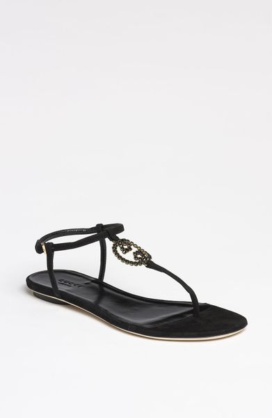 Gucci Katlin Jeweled Interlocking G Flat Thong Sandal In