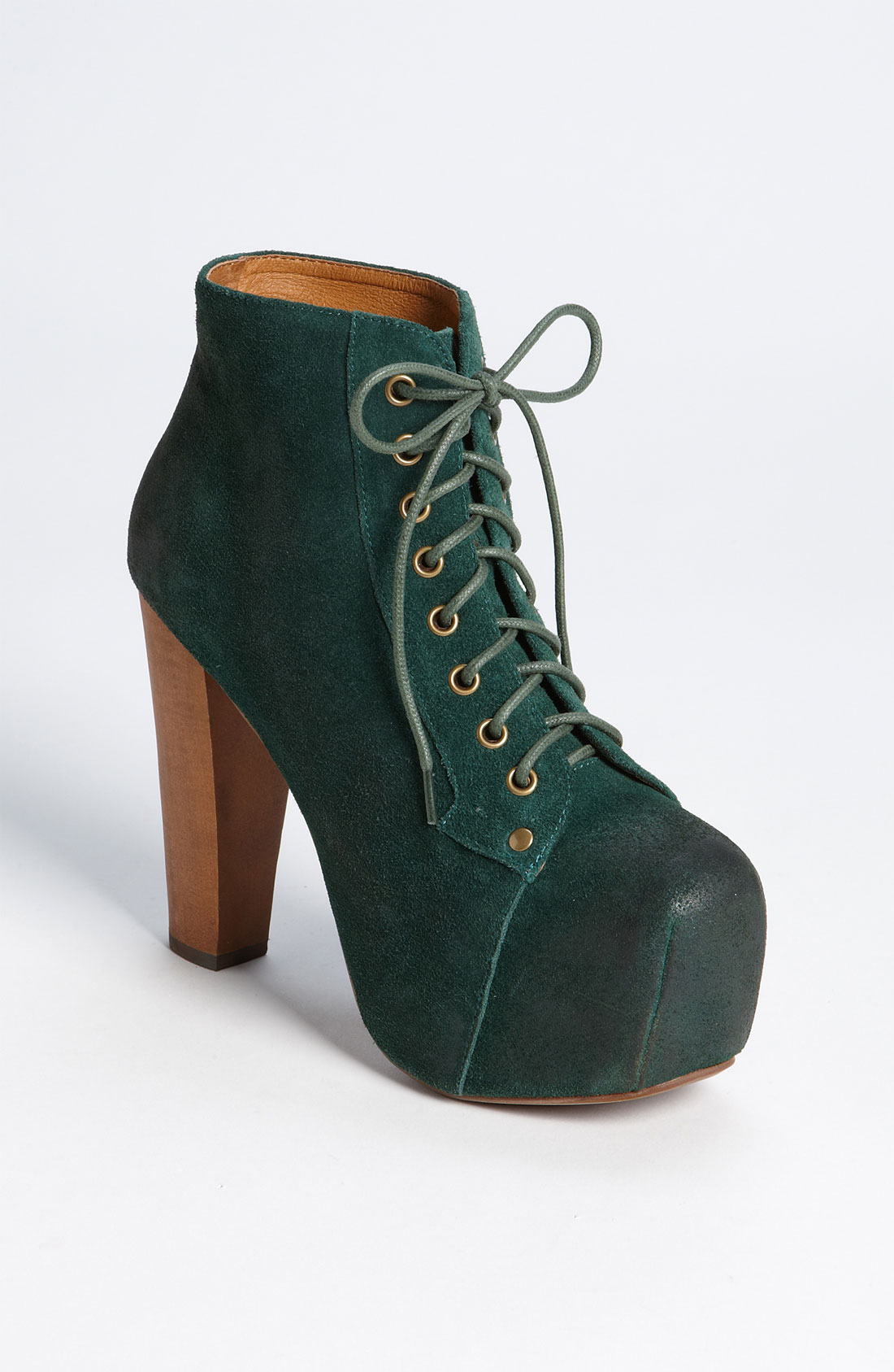 jeffrey campbell lita bootie in green forest green suede lyst. Black Bedroom Furniture Sets. Home Design Ideas
