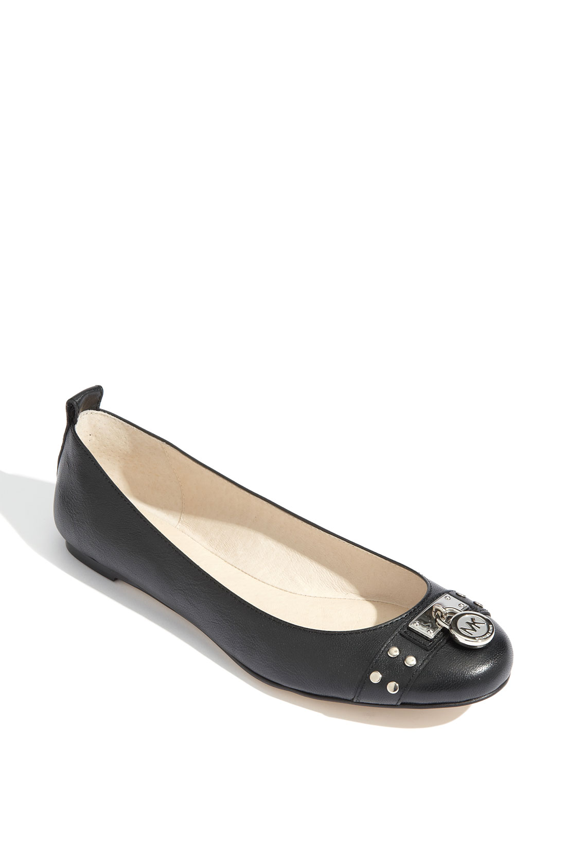 michael michael kors hamilton studded ballet flat in black lyst. Black Bedroom Furniture Sets. Home Design Ideas