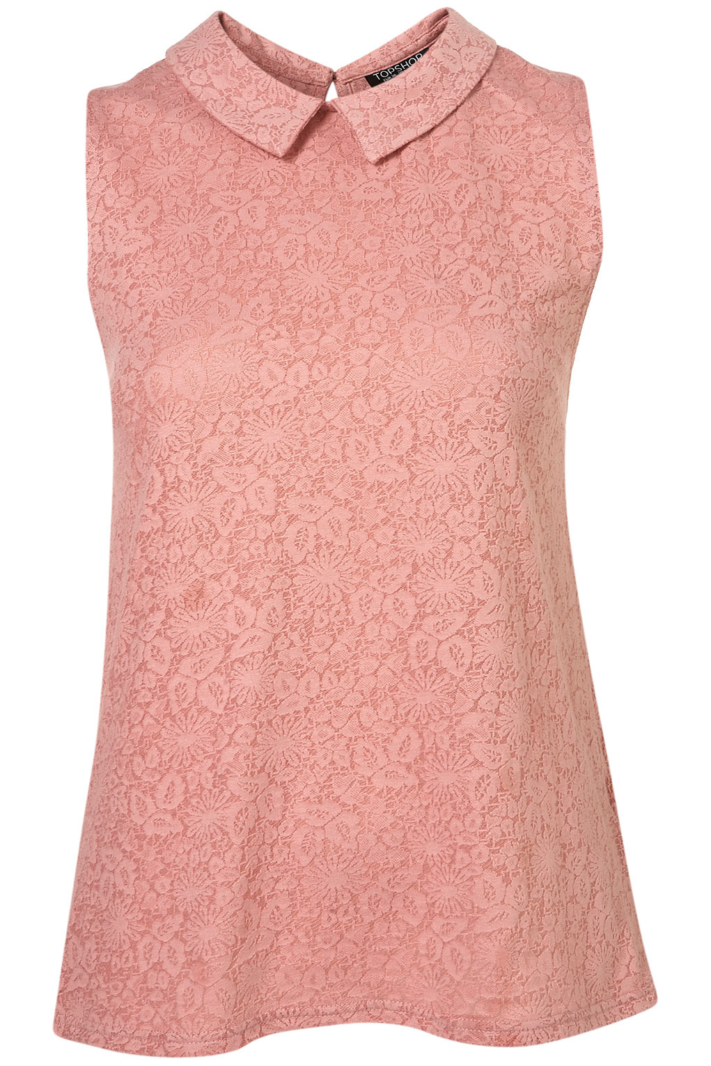 Lyst topshop lace collar top in pink for Boutique tops