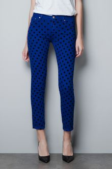 Zara Polka Dot Flock Pop Fabric Trousers - Lyst
