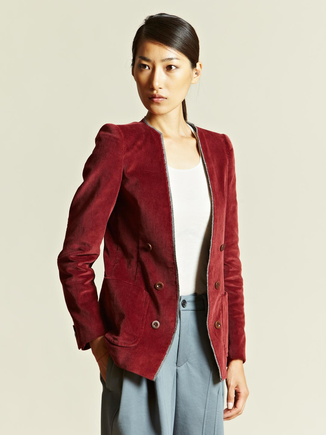 Kolor Kolor Womens Corduroy Jacket In Burgundy Purple Lyst