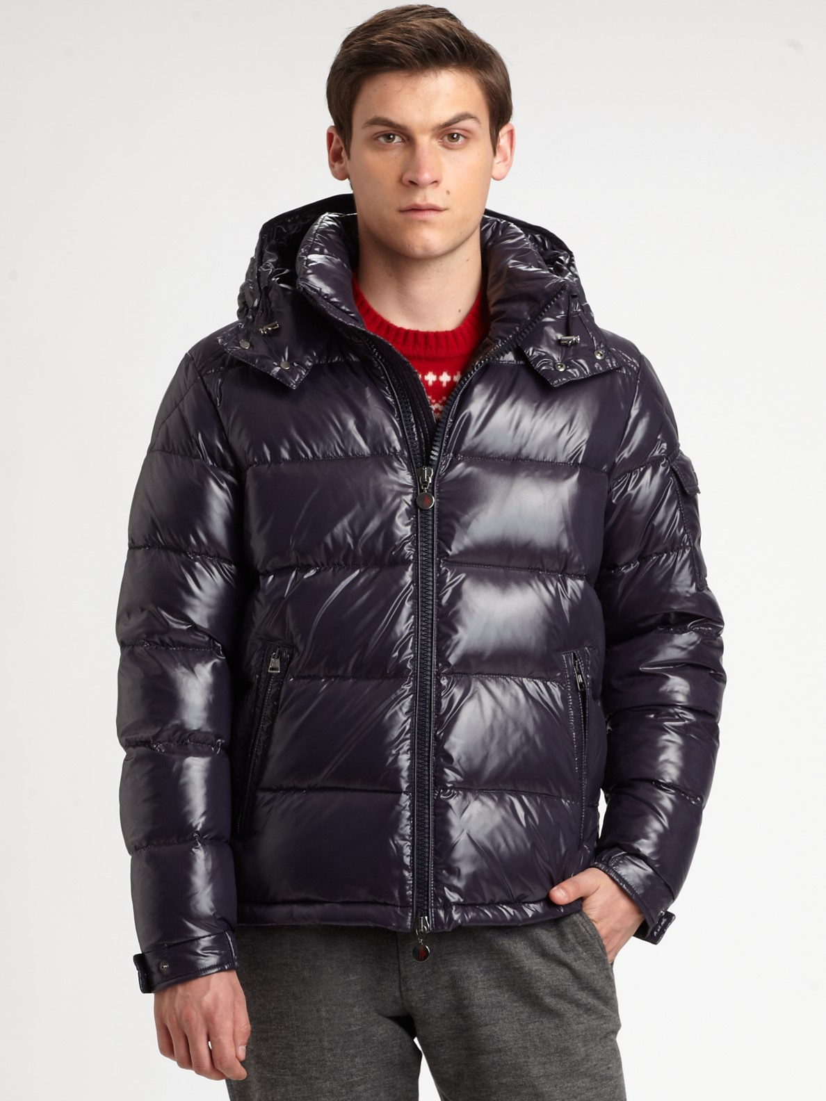 Moncler Maya Hooded Down Jacket In Blue For Men Lyst