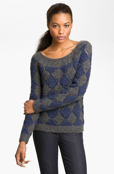 marc by marc jacobs tamara sweater in blue night grey lyst. Black Bedroom Furniture Sets. Home Design Ideas