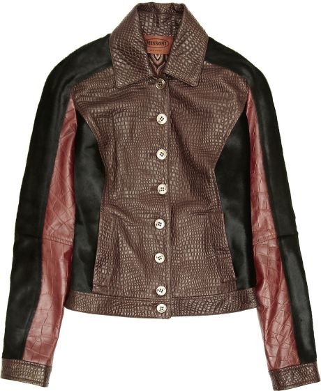 Missoni Paneled Leather and Calf Hair Jacket in Red (burgundy) - Lyst